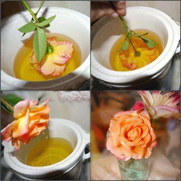 Процесс обработки цветов воском
